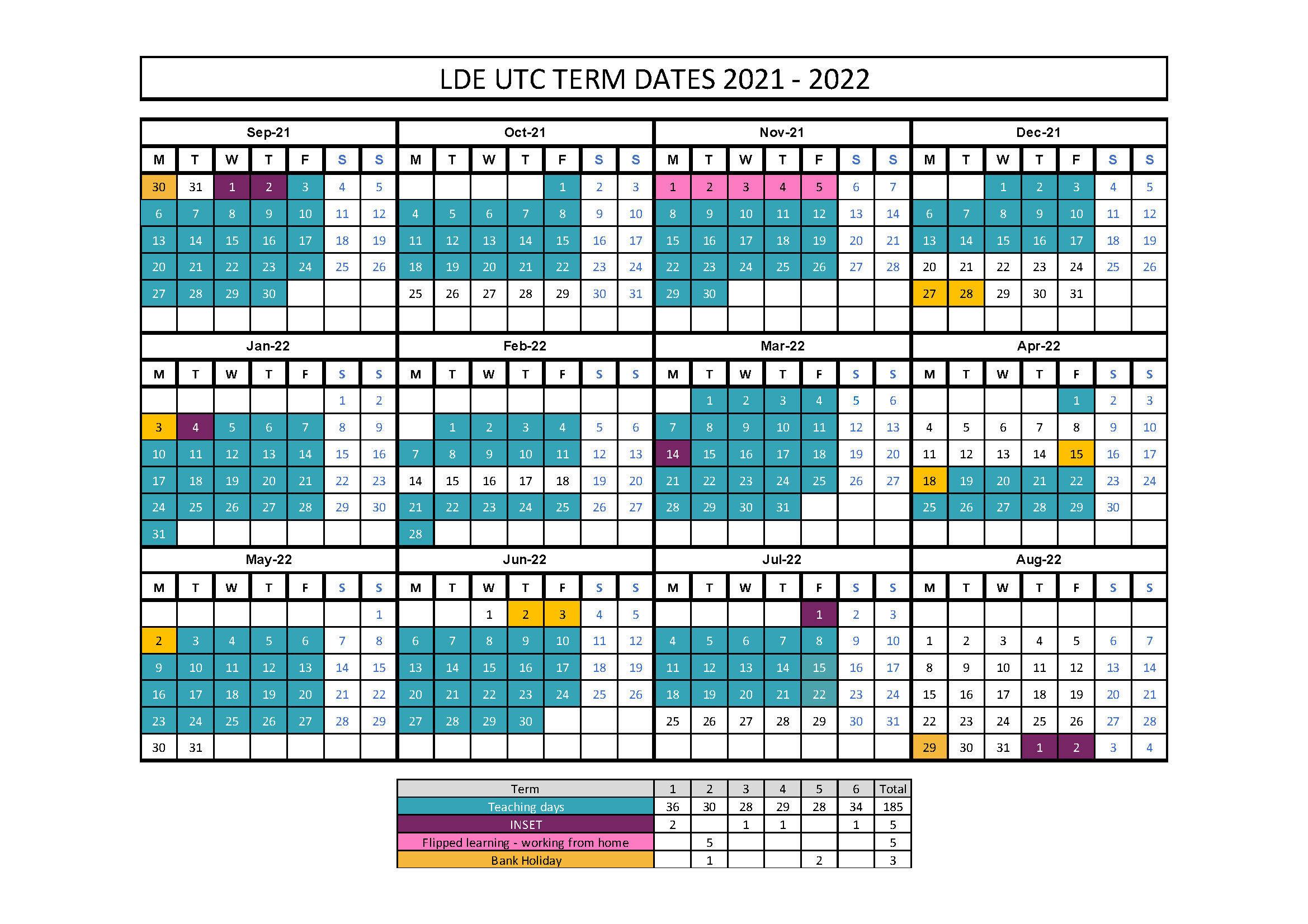 Utc 2022 Calendar.London Design Engineering Utc
